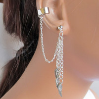 Chain Ear Cuff Wrap Cartilage Non Pierced Silver Wing and Earring