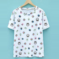 Cute owl print loose t-shirt