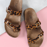 Leopard Print Cross Strap Cork Footbed Sandal