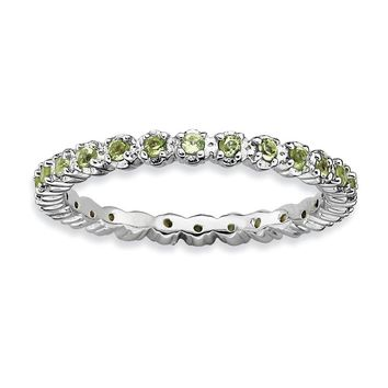 2.25mm Rhodium Plated Sterling Silver Stackable Peridot Band