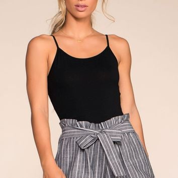 Festive Ready Stripe Shorts - Black