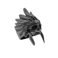 *Mister  Indian Chief Ring - Black