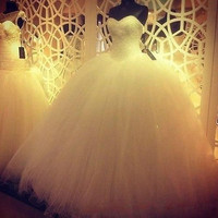 New White / Ivory Wedding Dress Bridal Gown Custom Size 6-8-10-12-14-16
