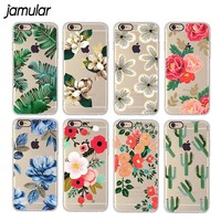 JAMULAR Soft Flower Case For iphone 7 8 6S Plus Fundas Gel Silicone Back Cover Celular Phone Case For iphone 8 6 6s 7 Plus Capa