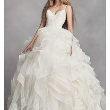 White by Vera Wang Organza Rosette Wedding Dress - Davids Bridal