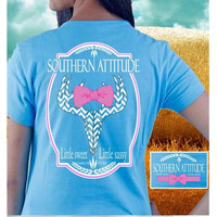 Country Life Outfitters Blue Southern Attitude Chevron Deer Skull Bow Hunt Bright T Shirt