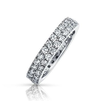 Simple 2 Row Pave CZ Anniversary Wedding Band Ring 925 Sterling Silver