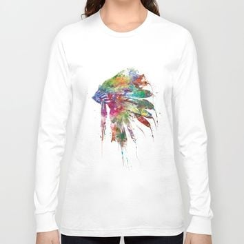 Headdress Long Sleeve T-shirt by MonnPrint