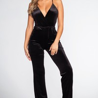 Live To Tell Velvet Jumpsuit - Black