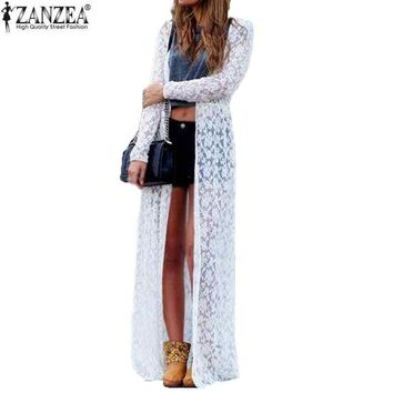 Plus Size ZANZEA Blusas 2018 Spring Women Outwear Lace Long Sleeve Beach Kimono Cardigan Casual Loose Long Blouses 6 Colors