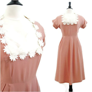 40s Dress Vintage Peach Crepe Tulle Bridal Cocktail XL