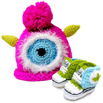 Crocheted Baby Booty Sneakers & Matching Knitted Baby Hat - Pink