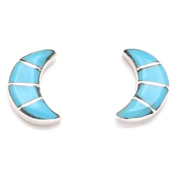 Handcrafted Crescent Moon Shaped Zuni Sterling SIlver & Turquoise Stud Earrings