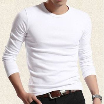 CUPUP9G 2017 autumn models teen solid color o-neck mens T-shirt bottoming elastic shirt for male long-sleeve T-shirt men