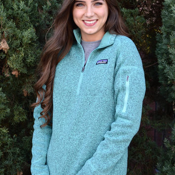 Patagonia Women's Better Sweater Quarter Zip Fleece- Beryl Green
