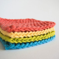 hand knit bright colors cotton face scrubbies, set of 4