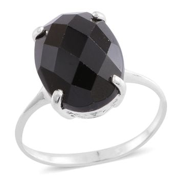 Thai Black Spinel Faceted Sterling Silver Solitaire Ring TGW 8.00 cts