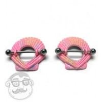 Sunset Shell Nipple Ring Barbell Shield 14G | UrbanBodyJewelry.com
