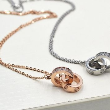 Zircon Double Ring Lovers Rose Gold Titanium Clavicle Necklace   171205