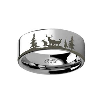 Deer Forest Engraved Flat Tungsten Ring
