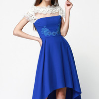 Blue Embroidered and Beading Dress