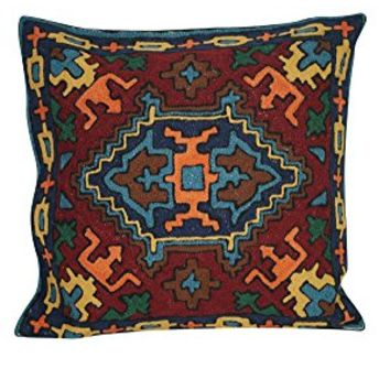 Mogul Cushion Covers Handmade Woolen Suzani Embroidered Pillow Covers Home Living Room Decor