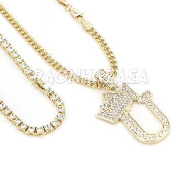 Iced Out Crown U Initial Pendant Necklace Set