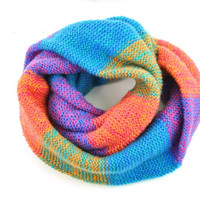Rainbow Knit Scarf, Colorful Neck Warmer