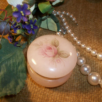 Hand Carved Alabaster Ring Box from Italy Victorian Rose Pink and Gold Vintage 1970's  DressingTable Jewelry Box