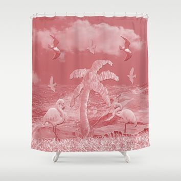 Pink Flamingos Palm Tree Shower Curtain by Deluxephotos