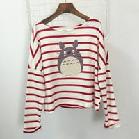 Cartoon Printed Striped Drop Shoulders Long Sleeves T-Shirt