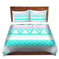 DiaNoche Designs Unique Decorative Designer Duvet Covers and Shams | Organic Saturation's Bright Turquoise Tribal