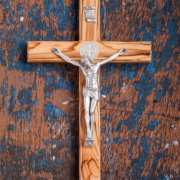 Holy Land Handmade St. Saint Benedict Wall Wood Cross Crucifix Silver Plated 15""