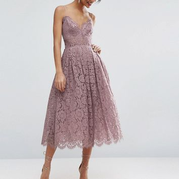 ASOS Lace Cami Midi Prom Dress at asos.com