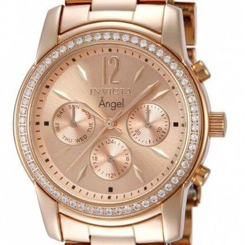Invicta Angel Multi-Function Rose Dial Rose Gold-plated Ladies Watch 11774
