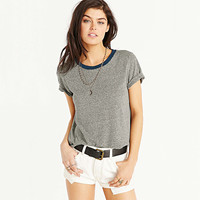 Color Block Neckline Loose T-Shirt