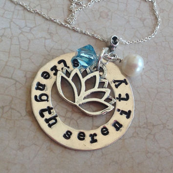 Strength Serenity personalized inspirational necklace with Lotus flower charm. Sterling Silver