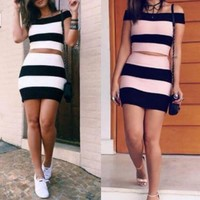 Bodycon Fashion Stripe Two-Piece