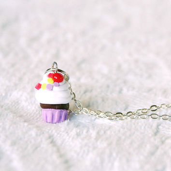 Sprinkles and Gumballs Cupcake Necklace with by BoutiqueVintage72