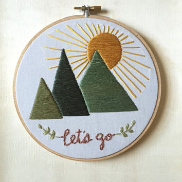 Hoop Art - Let's Go to the Mountains Embroidery Art in 6-inch Hoop