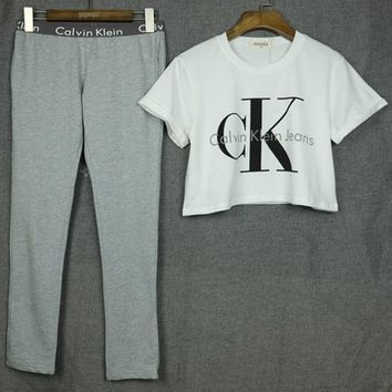 On Sale Calvin Klein Jeans Letter and Logo like Print Short Bare Midriff Sleeve Women Casual Sweatshirt Shirt Top Blouse T-Shirt and Sweatpants Set 2 pc -1
