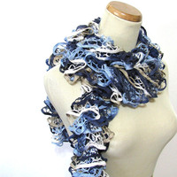 Hand Knit Ruffled Scarf - Blue Navy Blue Tan White