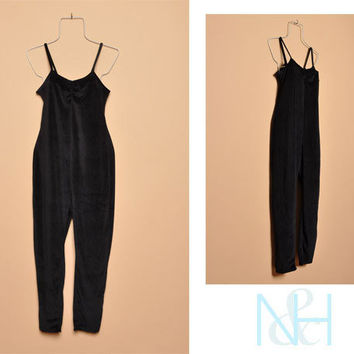 Vintage 1990s Black Velour Jumpsuit with Straight Leg Pants