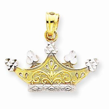 14k Gold and Rhodium Crown pendant