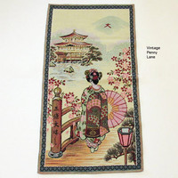 Vintage Chinese Tapsestry, Silk Thread, Dresser Scarf, Table Runner, Wall Art