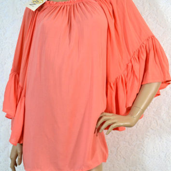 Elan Ruffle Bell Sleeve Off Shoulder Tunic Top-Melon