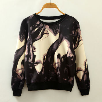 Round-neck Pullover Abstract Print Long Sleeve Hoodies [4919309892]