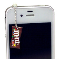 Kawaii M&M CANDY (BROWN) Iphone Earphone Plug/Dust Plug - Cellphone Headphone Handmade Decorations