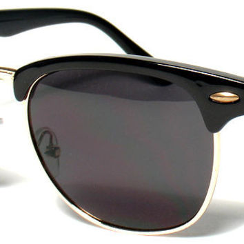 BLACK CLASSIC CLUBMASTER WAYFARER GOLD ACCENT HALF FRAME SUNGLASSES