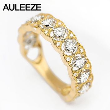 AULEEZE Vintage Lace Design Natural Diamond Wedding Rings For Women 18K Two Tone Gold Anniversary Band Fine Jewelry Party Gift